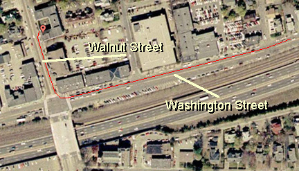 Satellite Image of Walnut Street in Newton, MA 02460